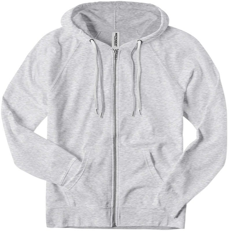 Independent Trading Lightweight Zip Up Hoodie - Athletic Heather